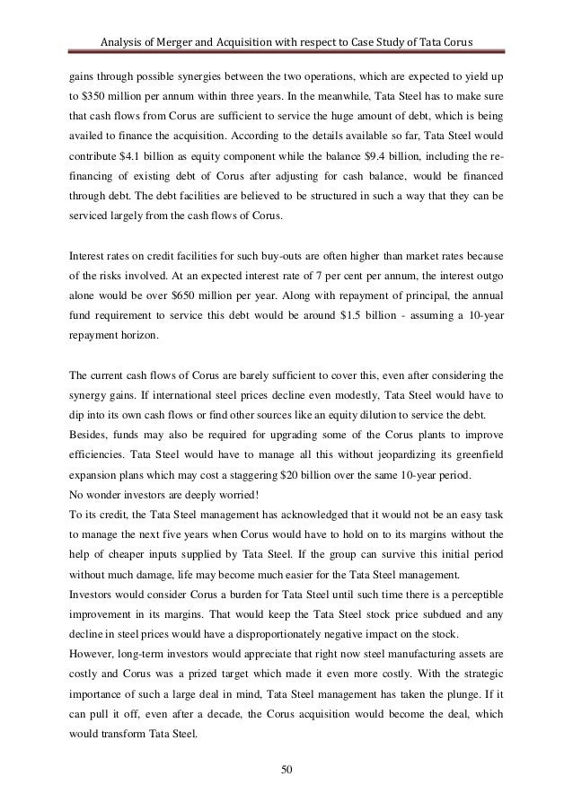case study analysis tata corus Case study: tata the story the tata after some hesitation, tata steel finally rebranded corus as tata steel europe by common consent, corus was not a particularly strong the same is even more strongly the case with jaguar and land rover, where tata motors has bluntly rejected even the.