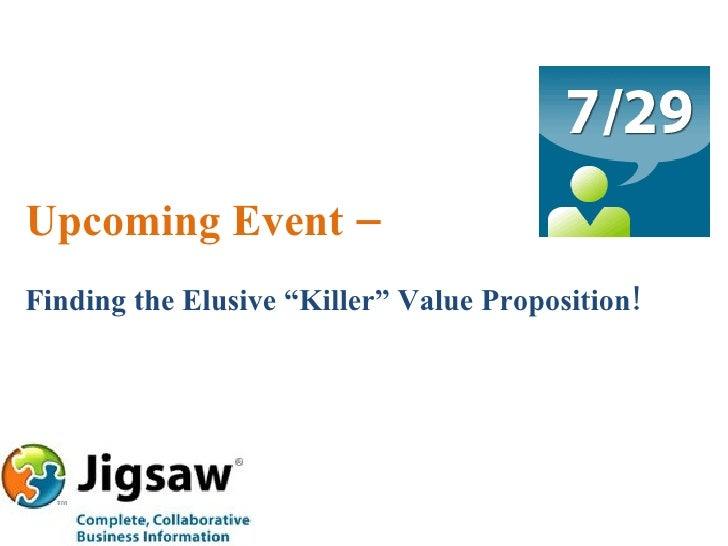 """Upcoming Event – Finding the Elusive """"Killer"""" Value Proposition!"""