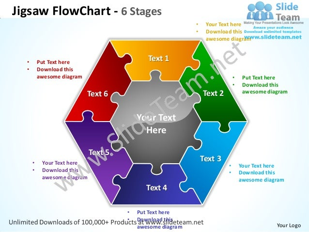 jigsaw flowchart 6 stages powerpoint templates 0712, Powerpoint templates