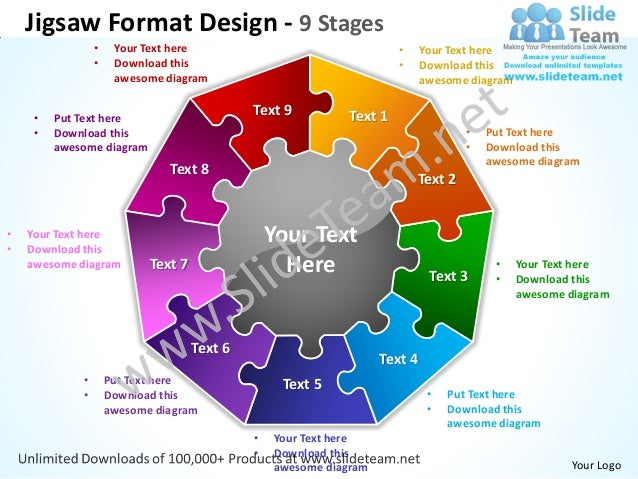 Jigsaw Format Design 9 Stages Powerpoint Templates 0712