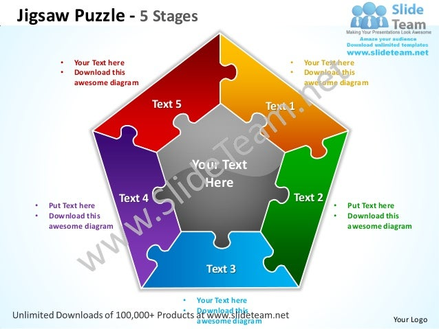 Jigsaw puzzle 5 stages powerpoint templates 0712 jigsaw puzzle 5 stages your text here toneelgroepblik Choice Image