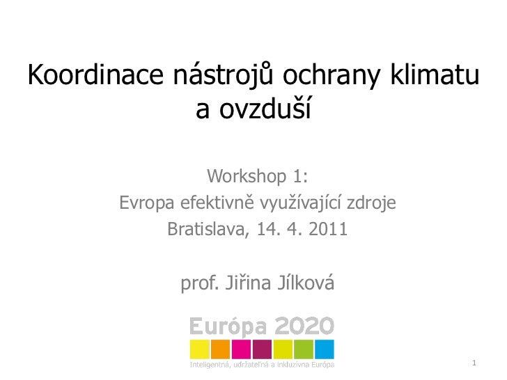 Koordinace nástrojů ochrany klimatu a ovzduší Workshop 1: Evropa efektivně využívající zdroje Bratislava, 14. 4. 2011 prof...