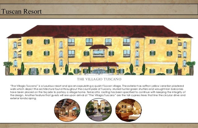 Tuscan ResortThe Site plan starts with the circular drive leading to the covered portico.After walking through the lobby y...
