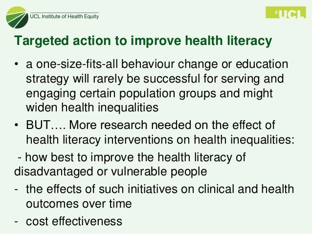 improving health literacy to reduce health inequalities