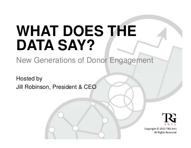 WHAT DOES THE DATA SAY? New Generations of Donor Engagement Hosted by Jill Robinson, President & CEO Copyright©2015TRG...