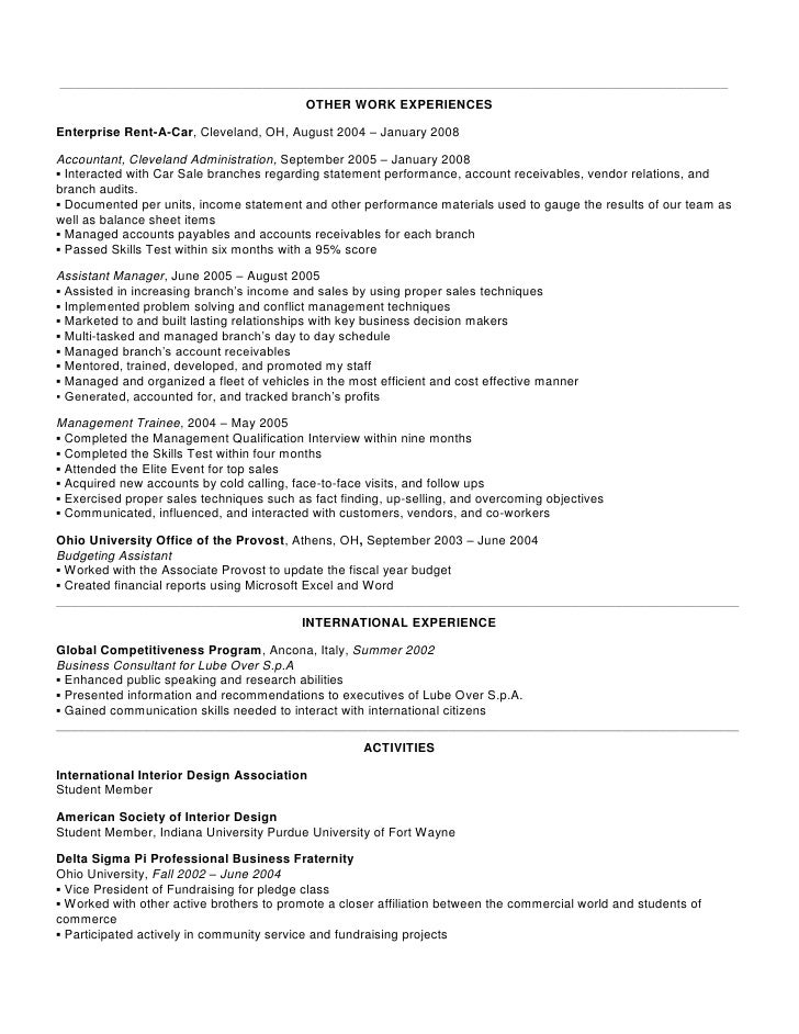 enterprise management trainee resume