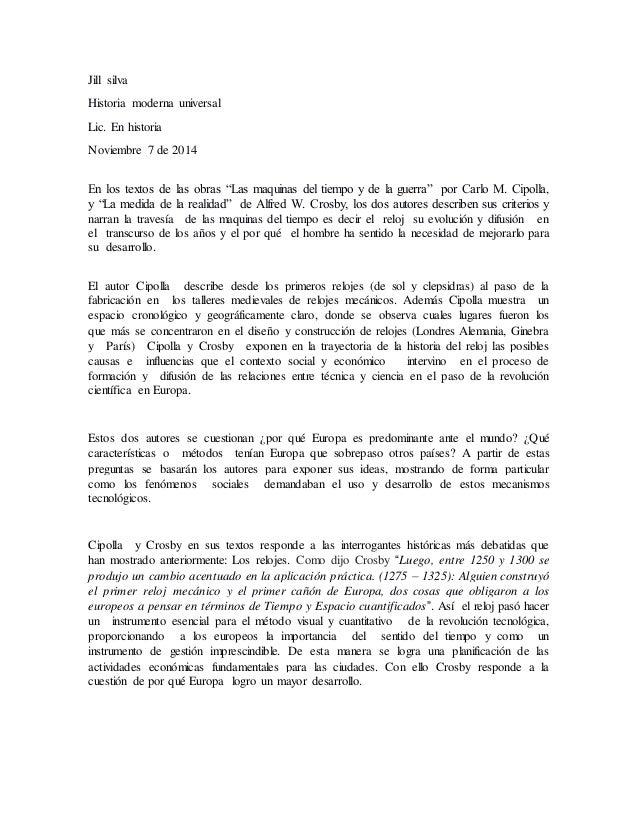 """Jill silva  Historia moderna universal  Lic. En historia  Noviembre 7 de 2014  En los textos de las obras """"Las maquinas de..."""