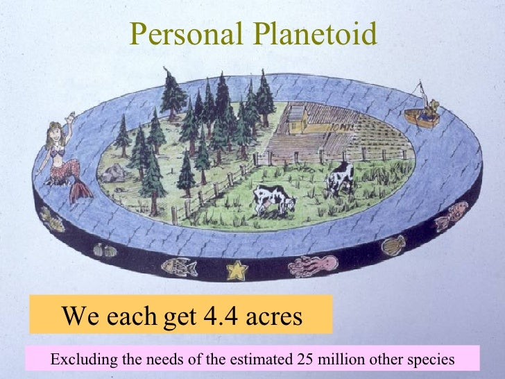 Personal Planetoid We each get 4.4 acres Excluding the needs of the estimated 25 million other species