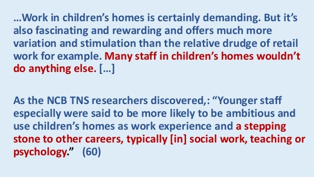In Canada, over the past 20 years I am aware of a number of reviews of residential care for children and youth carried out...