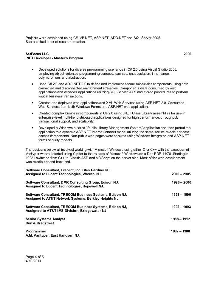 net resume letter ideas