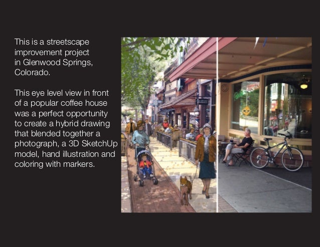 This is a streetscape improvement project in Glenwood Springs, Colorado. This eye level view in front of a popular coffee ...