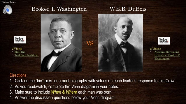 an essay on the common goal of booker t washington and web du bois Booker t washington vs web dubois despite their obvious differences, booker t dubois's and washington's slightly different backgrounds caused them to have different views on the future washington and dubois were both visionaries who shared the same goal, although they had there.