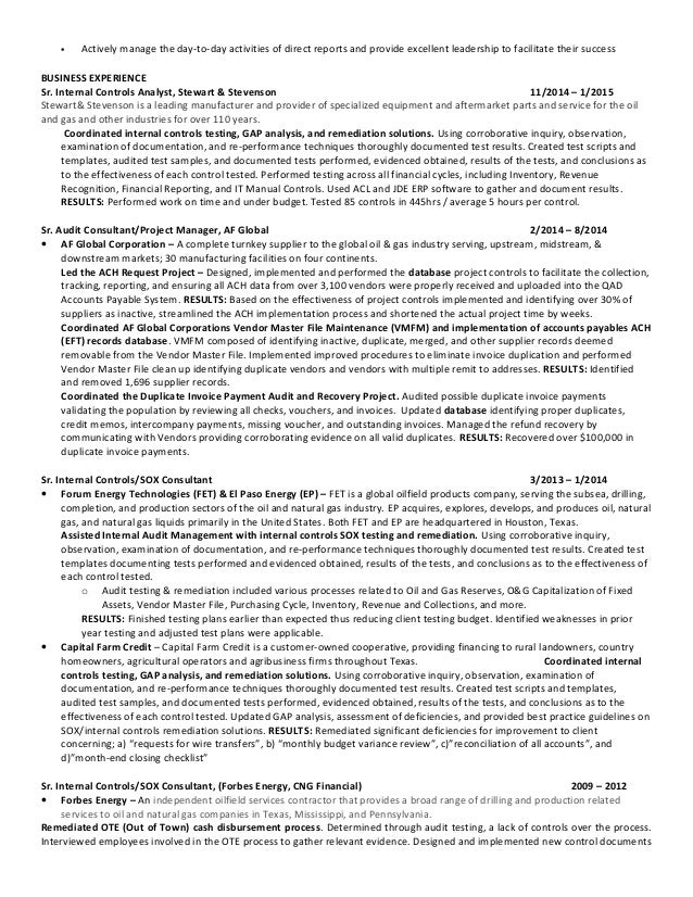Senior Internal Auditor Resume Sample
