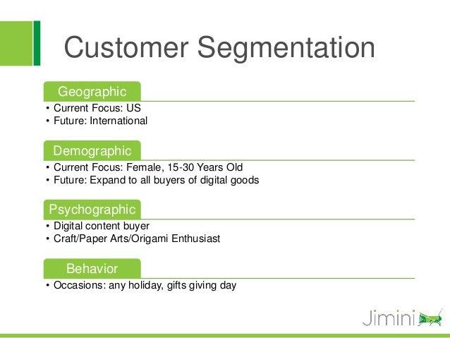 Customer Segmentation  Geographic• Current Focus: US• Future: International Demographic• Current Focus: Female, 15-30 Year...