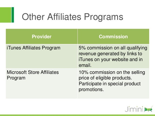 Other Affiliates Programs            Provider                  CommissioniTunes Affiliates Program    5% commission on all...