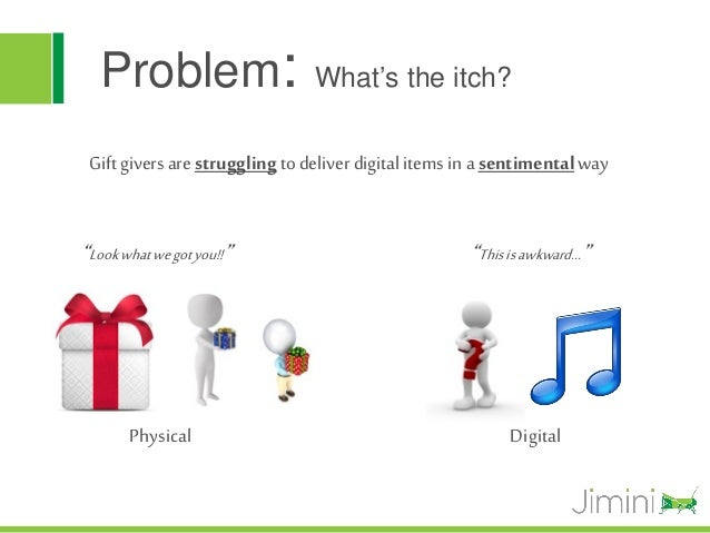 """Problem:                     What's the itch? Gift givers are struggling to deliver digital items in a sentimental way""""Loo..."""