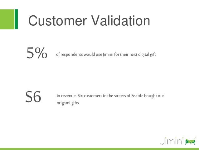 Customer Validation5%   of respondents would use Jimini for their next digital gift$6   in revenue. Six customers in the s...