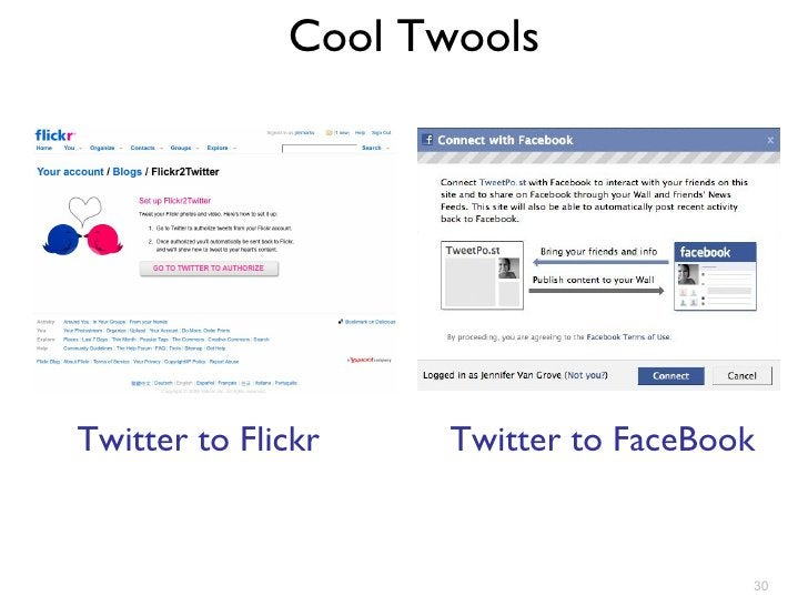 Cool Twools Twitter to Flickr Twitter to FaceBook