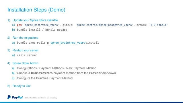 Installation Steps (Demo) ©2016 PayPal Inc. Confidential and proprietary. 1) Update your Spree Store Gemfile a) gem 'spree...