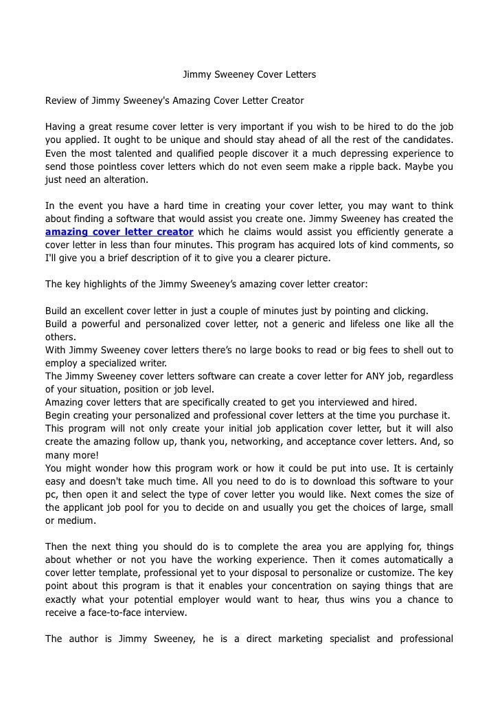 jimmy sweeney cover lettersreview of jimmy sweeneys amazing cover letter creatorhaving a great resume cover letter - Cover Letter Review