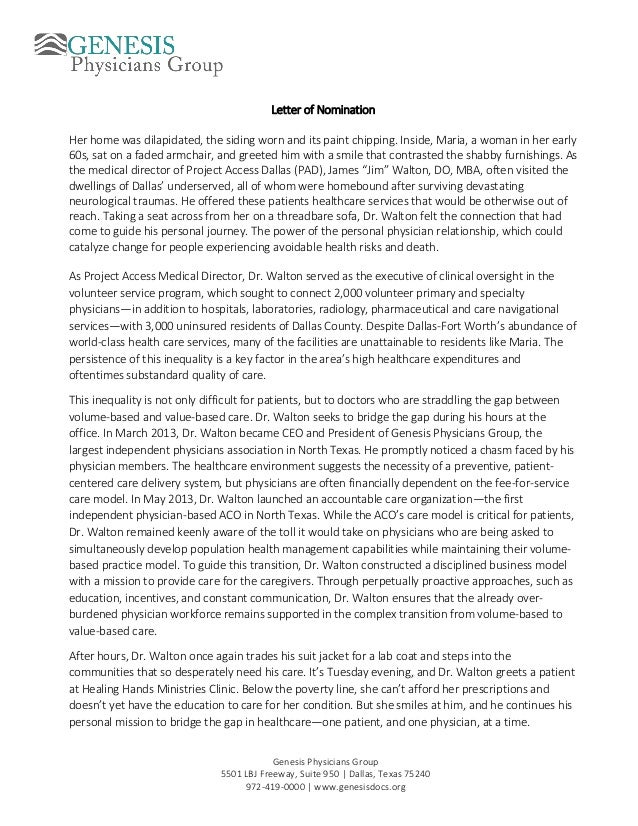 Sample Letter Of Award Nomination For Student