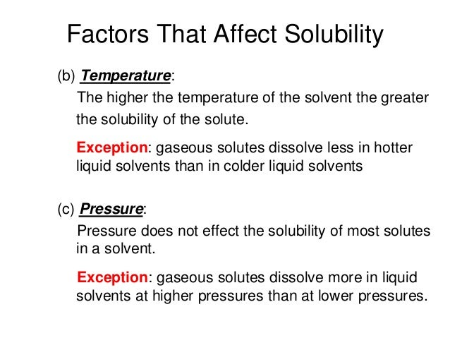 What are the factors of solubility?