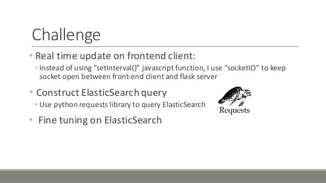 """Challenge • Real'time'update'on'frontend'client: • Instead'of'using'""""setInterval()""""'javascript function,'I'use'""""socketIO""""'..."""