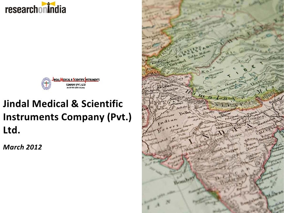 Jindal Medical & Scientific Instruments Company (Pvt.) Ltd. March 2012