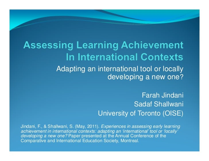 Adapting an international tool or locally                                 developing a new one?                           ...