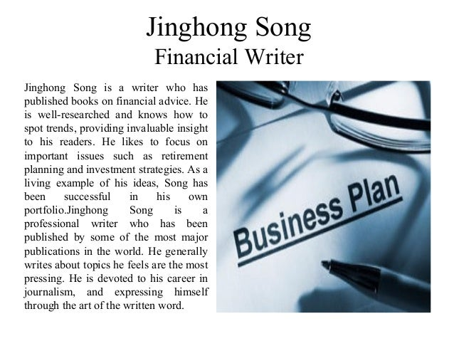 Jinghong Song Financial Writer Jinghong Song is a writer who has published books on financial advice. He is well-researche...