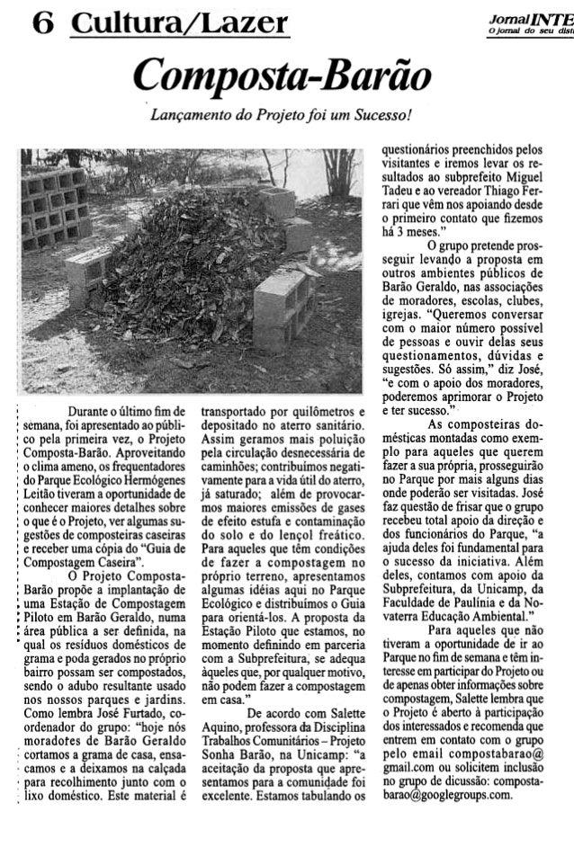6 JornalINTE o jornal do seu d/s', Composta-Barão Lançamento do Projeto foi umSucesso! questionários preenchidos pelos vis...