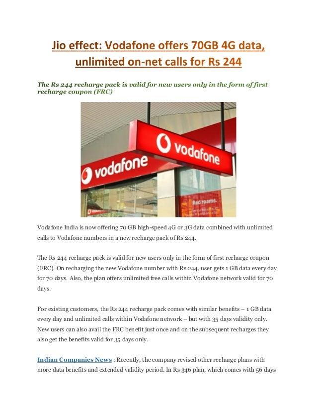 Jio effect vodafone offers 70 gb 4g data, unlimited on-net