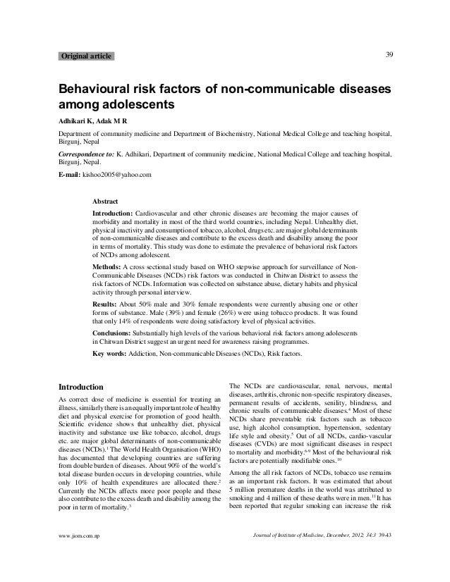 39  O rig inal article  Behavioural risk factors of non-communicable diseases among adolescents Adhikari K, Adak M R D epa...