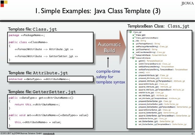 © 2012-2017 by JIOWA Business Solutions GmbH - www.jiowa.de JIOWA 1. Simple Examples: Java Class Template (3) package <<Pa...