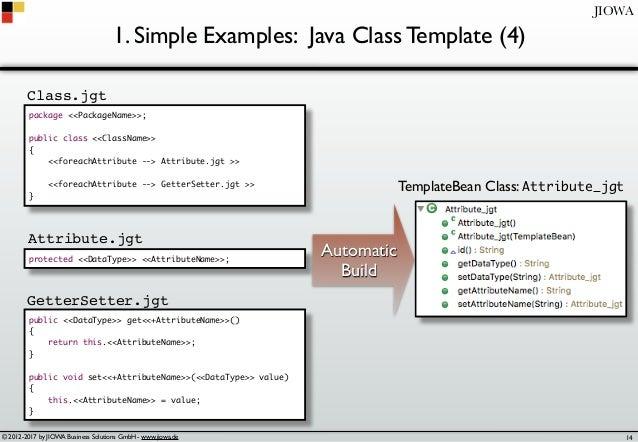 © 2012-2017 by JIOWA Business Solutions GmbH - www.jiowa.de JIOWA 1. Simple Examples: Java Class Template (4) package <<Pa...
