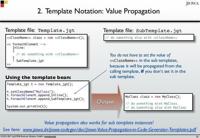 © 2012-2017 by JIOWA Business Solutions GmbH - www.jiowa.de JIOWA 2. Template Notation: Value Propagation <<ClassName>> cl...