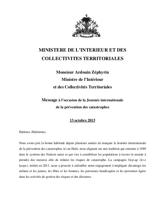MINISTERE DE L'INTERIEUR ET DES COLLECTIVITES TERRITORIALES Monsieur Ardouin Zéphyrin Ministre de l'Intérieur et des Colle...