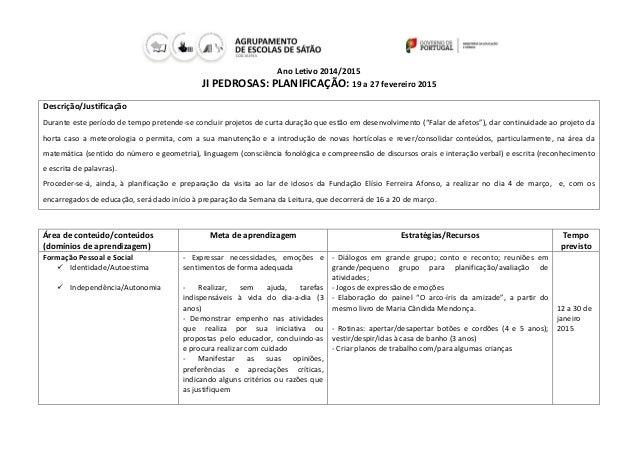 Ano Letivo 2014/2015 JI PEDROSAS: PLANIFICAÇÃO: 19 a 27 fevereiro 2015 Descrição/Justificação Durante este período de temp...