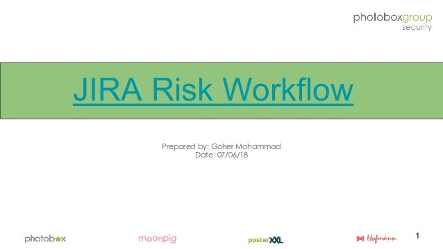 JIRA Risk Workflow Prepared by: Goher Mohammad Date: 07/06/18 1