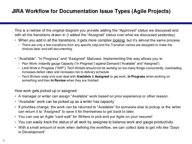 Jira workflow for documentation issue types agile edition