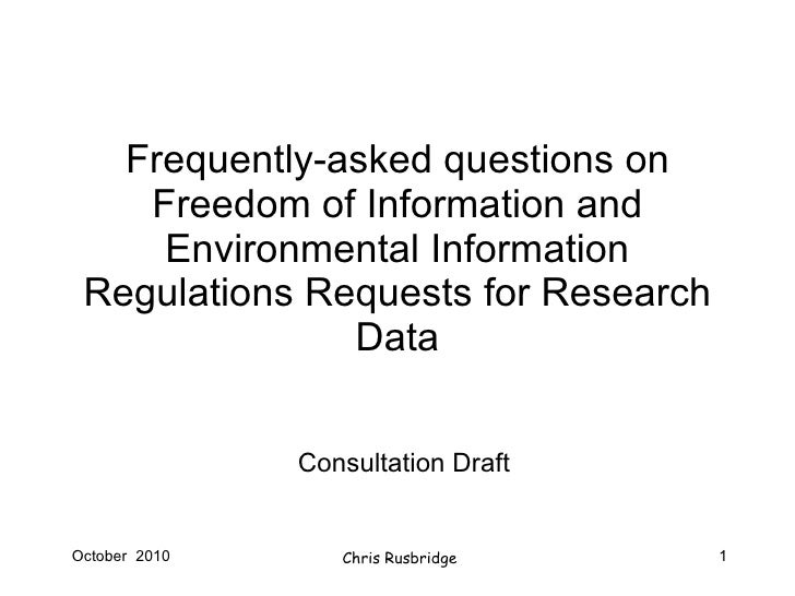 Frequently-asked questions on Freedom of Information and Environmental Information Regulations Requests for Research Data ...