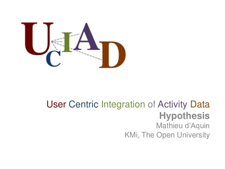 User Centric Integration of Activity Data<br />Hypothesis<br />Mathieu d'Aquin<br />KMi, The Open University<br />