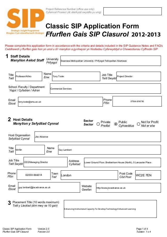 Classic SIP Application Form Version 2.0Ffurflen Gais SIP Clasurol Fersiwn 2.0Page 1 of 4Tudalen 1 o 4Project Reference Nu...