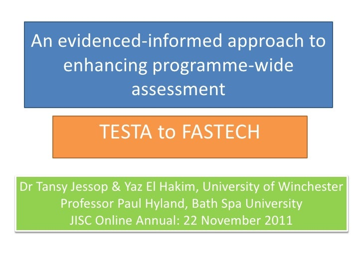 An evidenced-informed approach to     enhancing programme-wide            assessment             TESTA to FASTECHDr Tansy ...