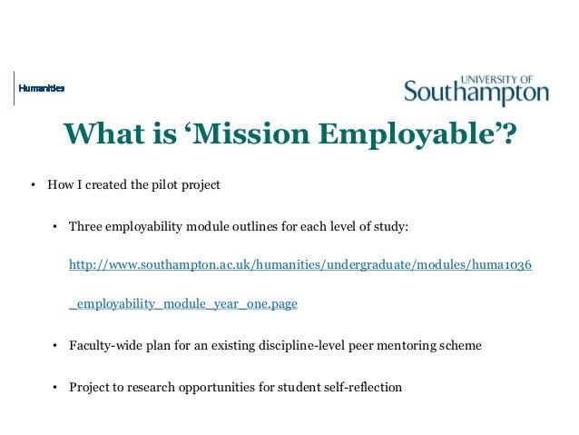 What is 'Mission Employable'? • How I created the pilot project • Three employability module outlines for each level of st...