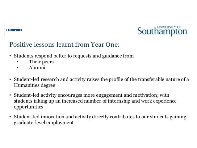 Positive lessons learnt from Year One: • Students respond better to requests and guidance from • Their peers • Alumni • St...