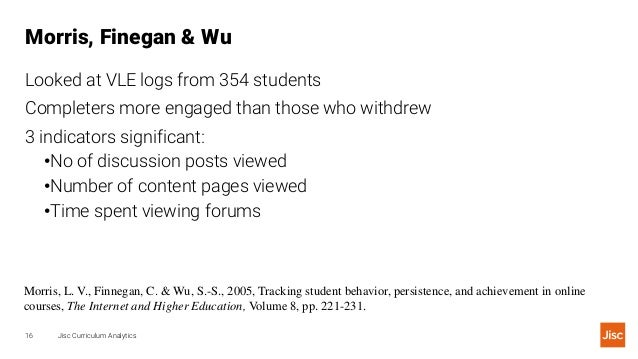 Morris, Finegan & Wu Jisc Curriculum Analytics16 Looked at VLE logs from 354 students Completers more engaged than those w...