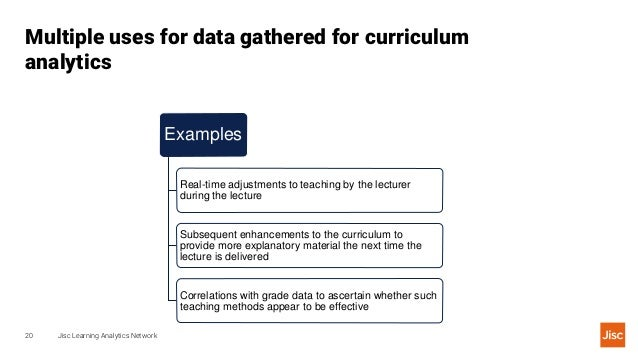 Curriculum analytics is the use of data to help understand and enhance the curriculum.