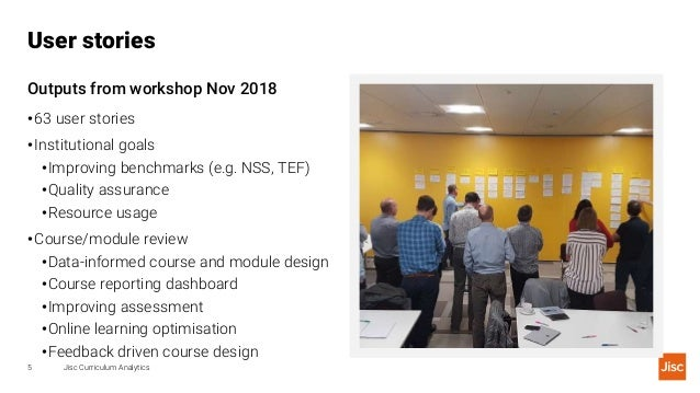 User stories Jisc Curriculum Analytics5 Outputs from workshop Nov 2018 •63 user stories •Institutional goals •Improving be...
