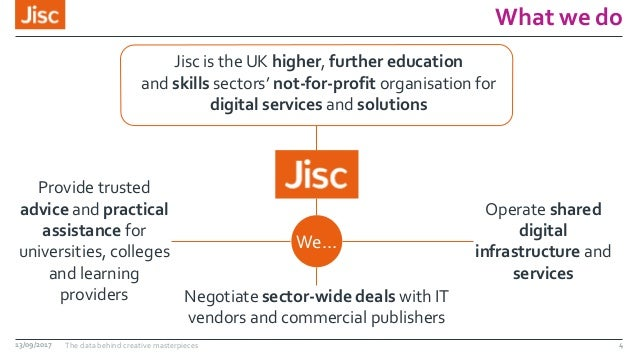 What we do 13/09/2017 The data behind creative masterpieces 4 Jisc is the UK higher, further education and skills sectors'...